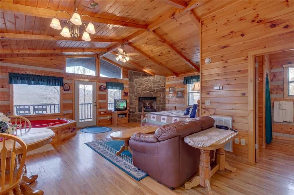Cabin, 1 King Bed, Jetted Tub, Mountain View - Living Room
