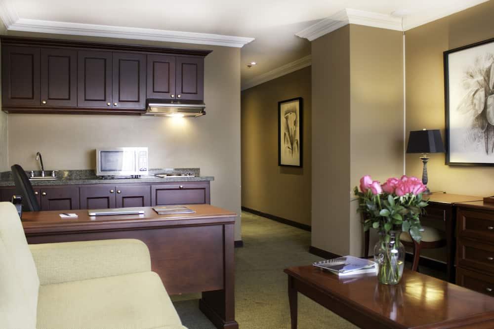 Junior suite, 1 kingsize bed, Uitzicht op de stad - Woonruimte
