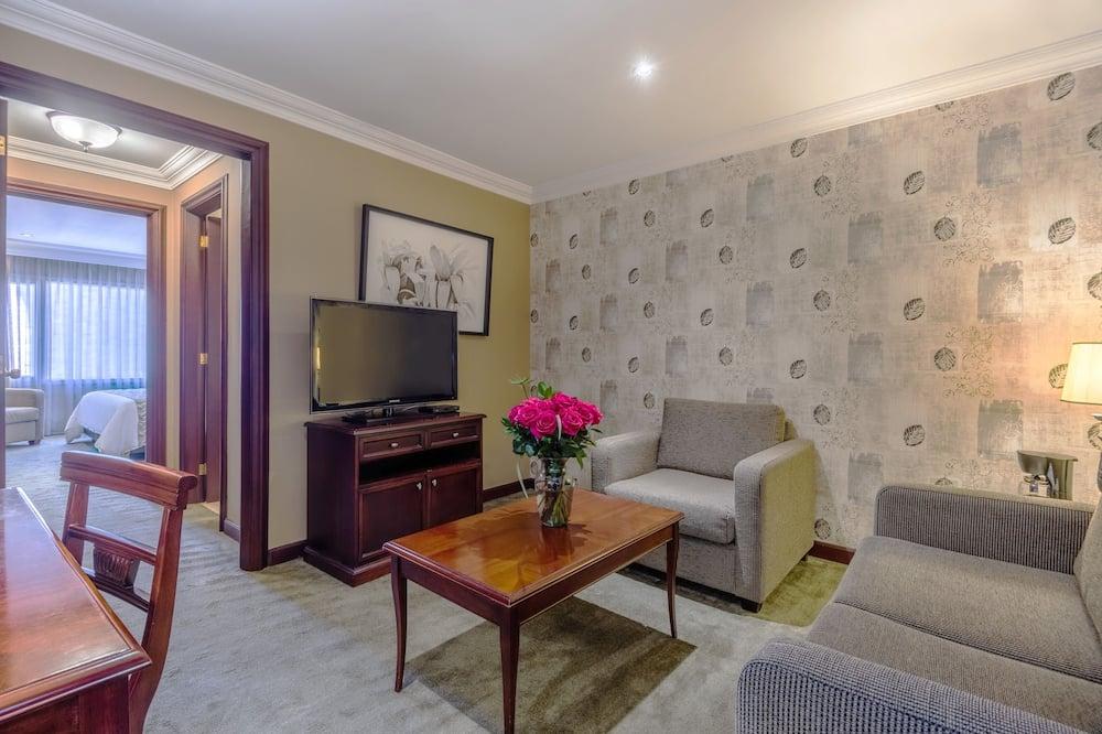 Junior suite, 1 kingsize bed, Uitzicht op de stad - Woonkamer