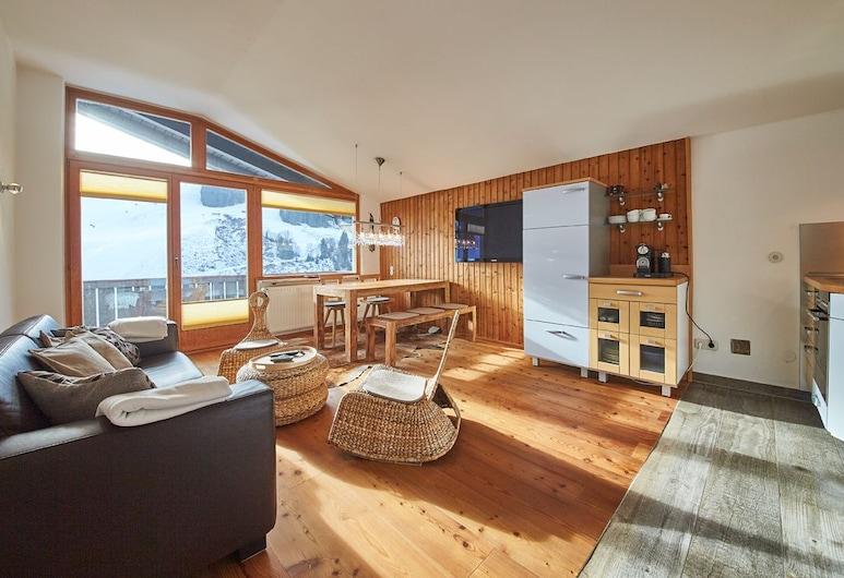 SunnySide Appartements, Saalbach-Hinterglemm, Căn hộ, 2 phòng ngủ, Quang cảnh núi (Appartement Top 2), Khu phòng khách