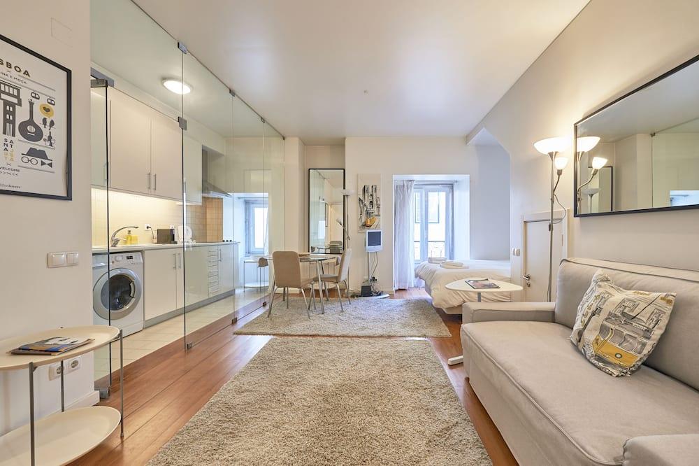 Eenvoudig appartement, 1 tweepersoonsbed, niet-roken, Uitzicht op de stad - Woonkamer