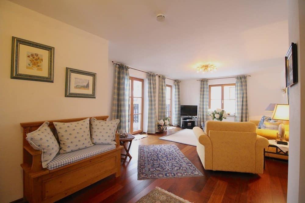 อพาร์ทเมนท์, 1 ห้องนอน, ระเบียง, วิวภูเขา (Chalet Rose) - ห้องนั่งเล่น