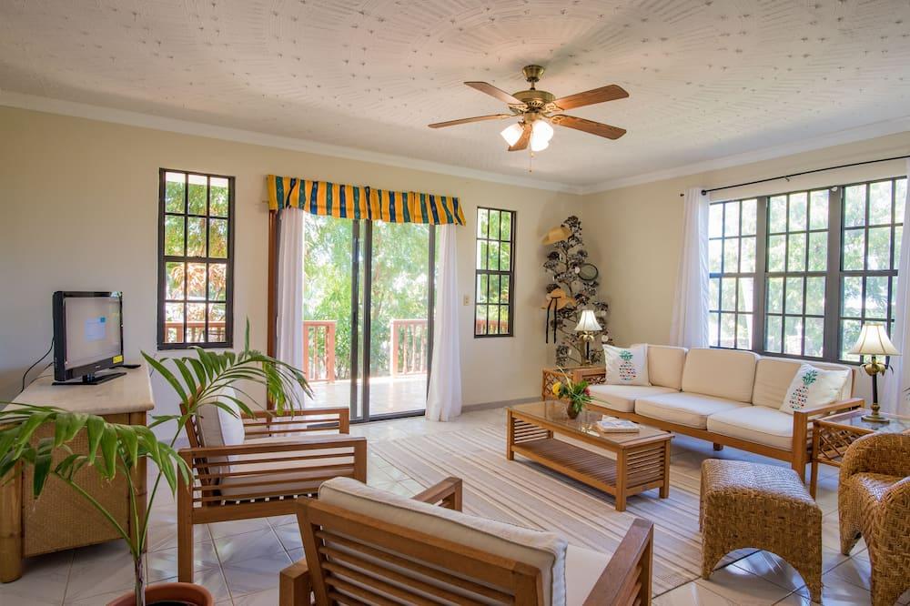 Premium-lejlighed - 1 queensize-seng - ikke-ryger - udsigt til have - Opholdsområde