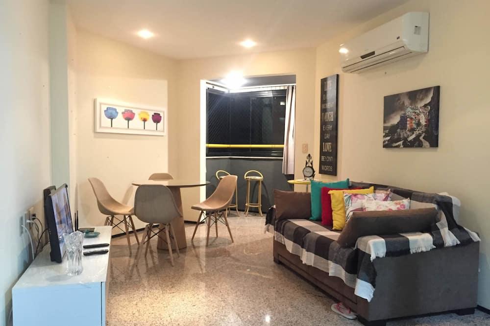 Apartman, Više kreveta, pogled na plažu - Dnevna soba