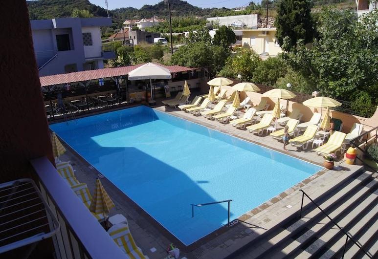 Lisa Hotel, Rodosz, Háromágyas szoba, kilátással a medencére, Vendégszoba kilátása