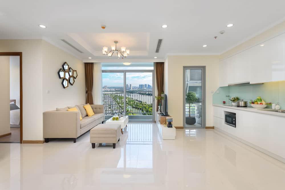 Superior-Apartment, 3Schlafzimmer, Raucher, Stadtblick - Wohnzimmer