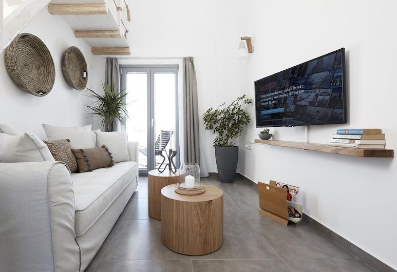 Pnoi Luxury Suites, Santorini, Deluxe Loft, Sea View, Living Area