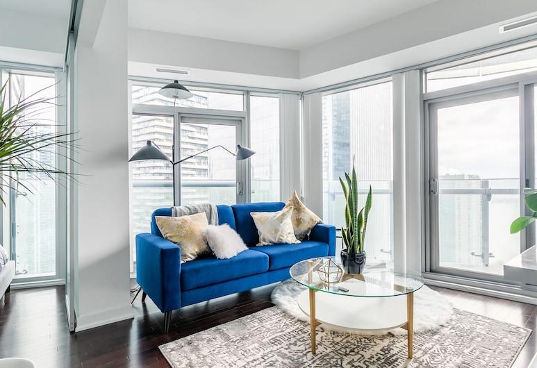 HomeHop - Ice, Toronto, Presidentieel appartement, 3 slaapkamers, niet-roken, uitzicht op meer, Woonruimte