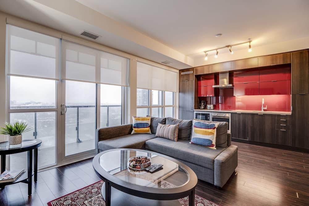 Представительские апартаменты, Несколько кроватей, для некурящих, вид на город - Зона гостиной