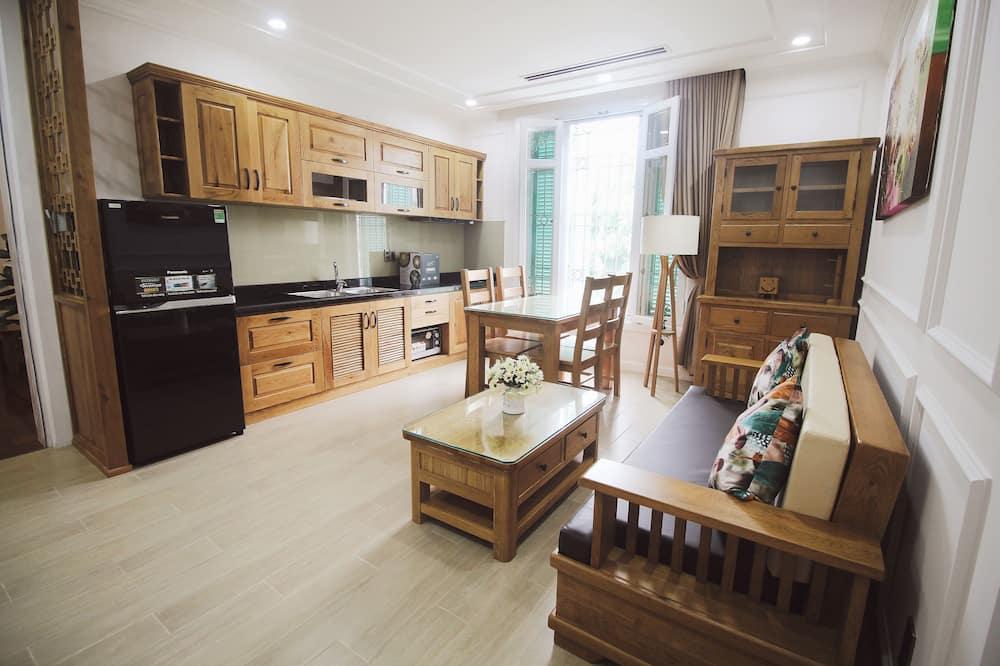 Luxury-Apartment, 1 Schlafzimmer, Nichtraucher, Flussblick - Wohnbereich