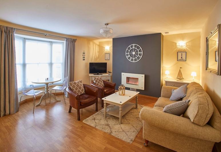 Oystercatcher Apartment, Whitby, Prabangaus stiliaus apartamentai, 1 labai didelė dvigulė lova, Nerūkantiesiems, Svetainės zona
