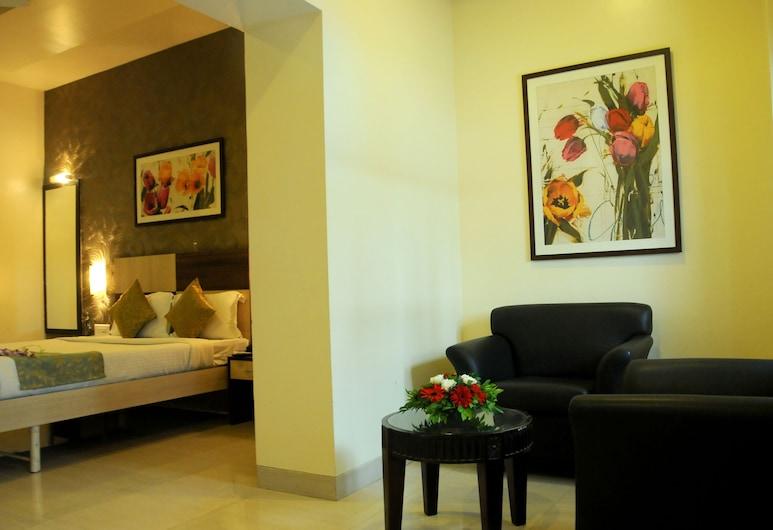 JK Rooms 104 Hotel Madhav International, Pune, Pokoj Deluxe s dvojlůžkem nebo dvěma jednolůžky, bezbariérový přístup, výhled na město, Pokoj