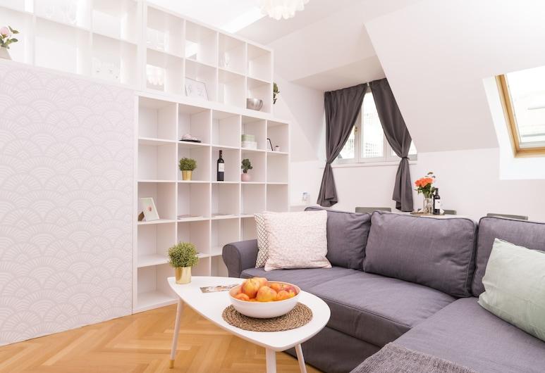 Rooftop Studio Börse by Welcome2Vienna, Viena, Estúdio design, Sacada, Vista para a cidade (incl. 60€ cleaning fee), Área de estar