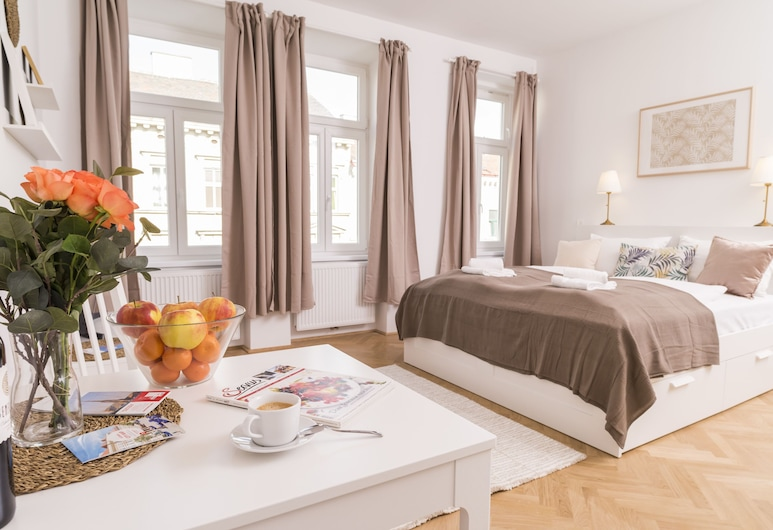 Heart of Ottakring by Welcome2Vienna, Vienna, Monolocale Business, 1 letto queen (incl. 40€ cleaning fee), Area soggiorno