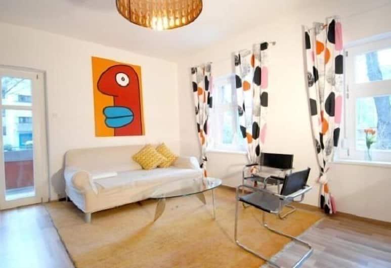 Apartment in Stadthotel, Berlín, Dizajnový apartmán, viacero postelí, nefajčiarska izba, Obývačka
