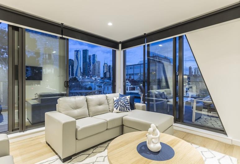 Q Squared Serviced Apartments, צפון מלבורן, דירת סופריור, 2 חדרי שינה, 2 חדרי רחצה, אזור מגורים