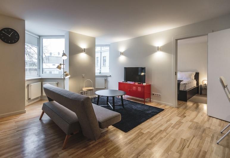 """Frīdriha dzīvokļi """"Rīga Lux"""", Rīga, Dzīvokļnumurs, viena guļamistaba (Orange Van), Dzīvojamā zona"""