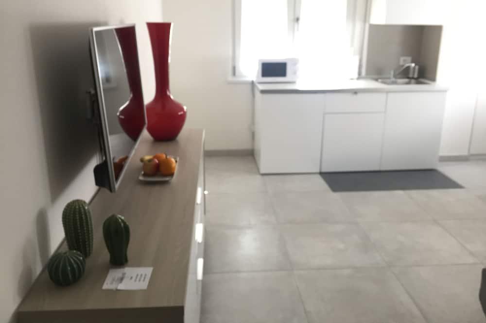 Klasikinio tipo apartamentai, virtuvėlė, vaizdas į miestą - Svetainės zona