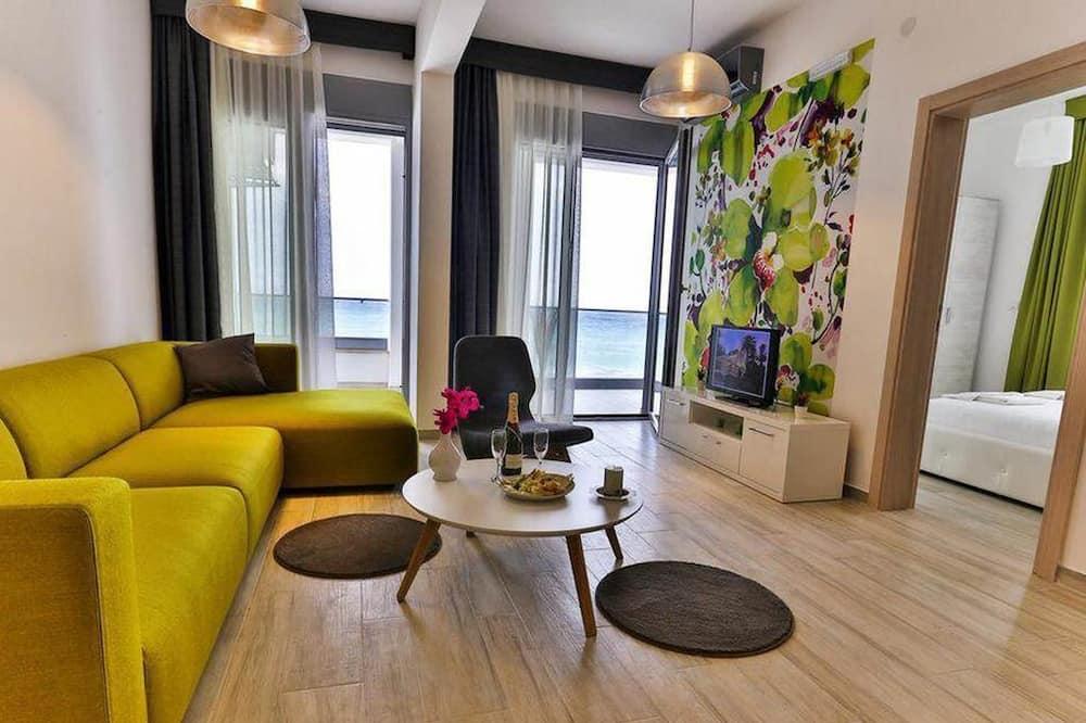 Appartement, 2 chambres, balcon, vue mer - Coin séjour