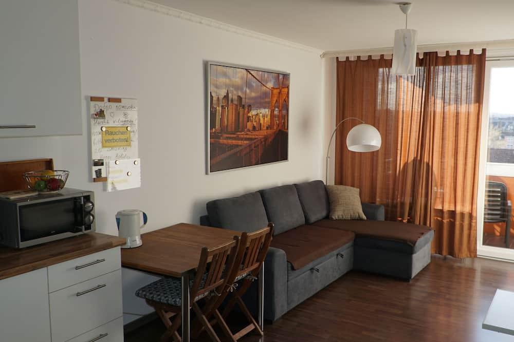 Panorāmas dzīvokļnumurs, viena guļamistaba - Dzīvojamā zona