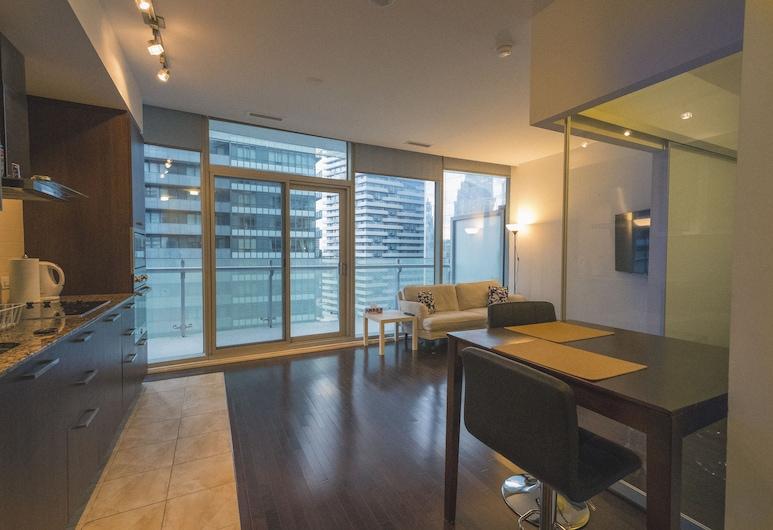 Stunning Suites - Modern Downtown Condo, Toronto, Appartement, 1 queensize bed, Uitzicht op de stad, Woonruimte