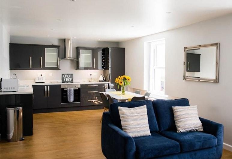 Ty Haf, 4 Dunmore Apartments, Tenby, Ferienhaus (2 Bedrooms), Wohnbereich