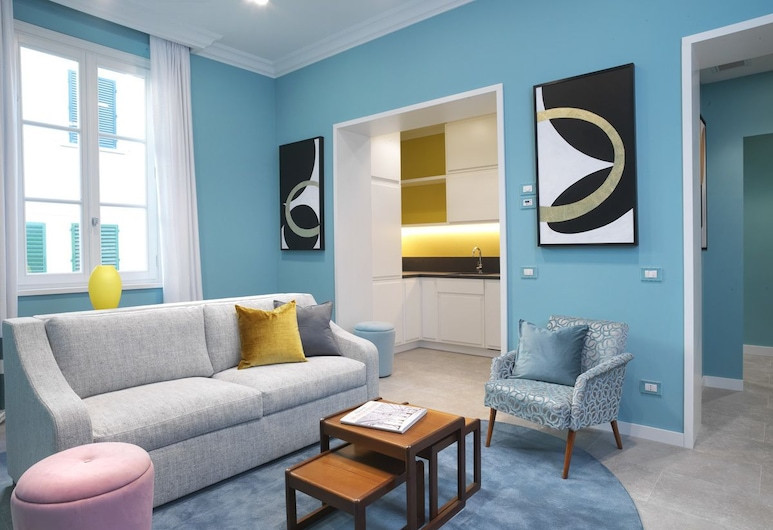 Drago D'oro Suites, Florencia, Apartmán typu Deluxe, 1 spálňa, kuchynka (103), Obývačka
