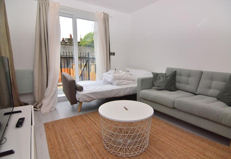 MACARENA WHARF Apartments, Londýn, Dizajnový apartmán, 2 spálne, s výhľadom do záhrady, Obývacie priestory
