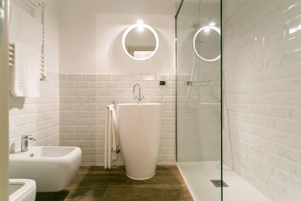 City szoba kétszemélyes ággyal, 1 queen (nagyméretű) franciaágy - Zuhanyozó a fürdőszobában