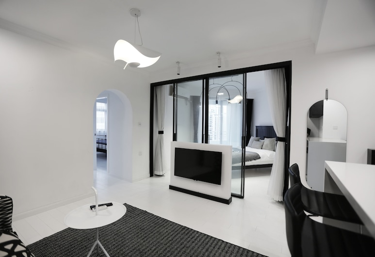 『V·K House|光』徐家匯地鐵口極簡風格三居, 上海市, 都會公寓, 客房
