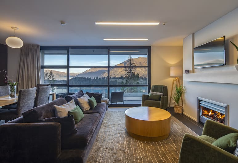 Panorama Terrace Apartments, Element Escapes , Queenstown, Lägenhet - 2 sovrum - utsikt mot bergen, Vardagsrum