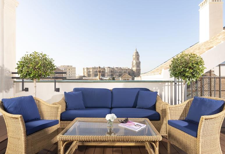 Palacio Solecio, Málaga, Dobbeltrom – panoramic, 1 kingsize-seng, utsikt mot byen, tårn, Gjesterom
