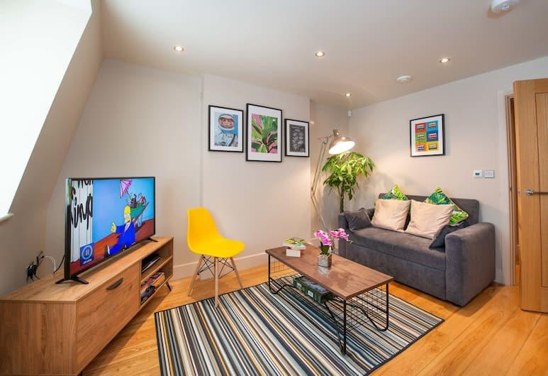 Luxury Central Reading Apartment 1 bed. Satellite TV. Wi-Fi, Reading, Apartmán typu Deluxe, 1 spálňa, výhľad na mesto, Obývacie priestory
