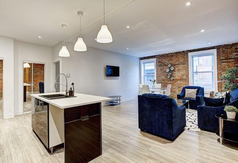 Sarkar Suites - Quartier Des Spectacles, Montreal, Apartamento de Luxo, Vista Cidade, Área de Estar
