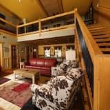 Chalet, Mehrere Betten, Whirlpool - Wohnzimmer