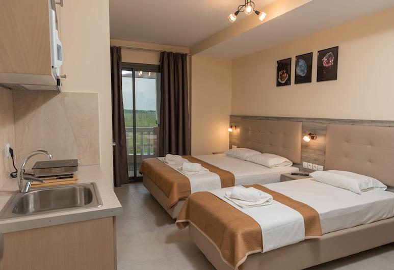 INO Luxury Rooms, Katerini, Trojlôžková izba typu Deluxe, výhľad na more, Obývačka