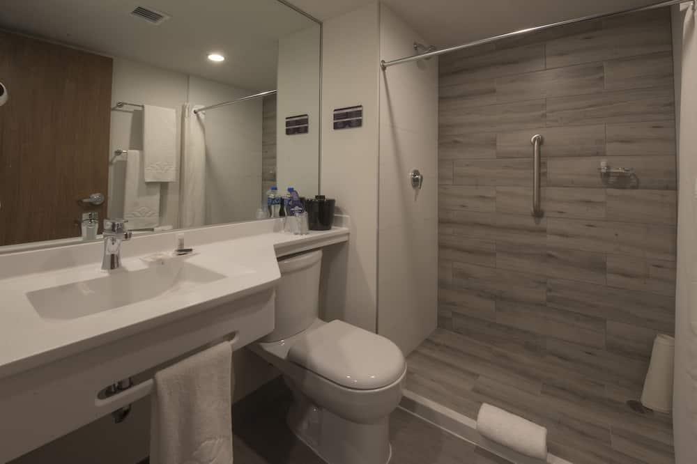 Zimmer, 2Doppelbetten, barrierefrei, Nichtraucher (Mobility) - Badezimmer