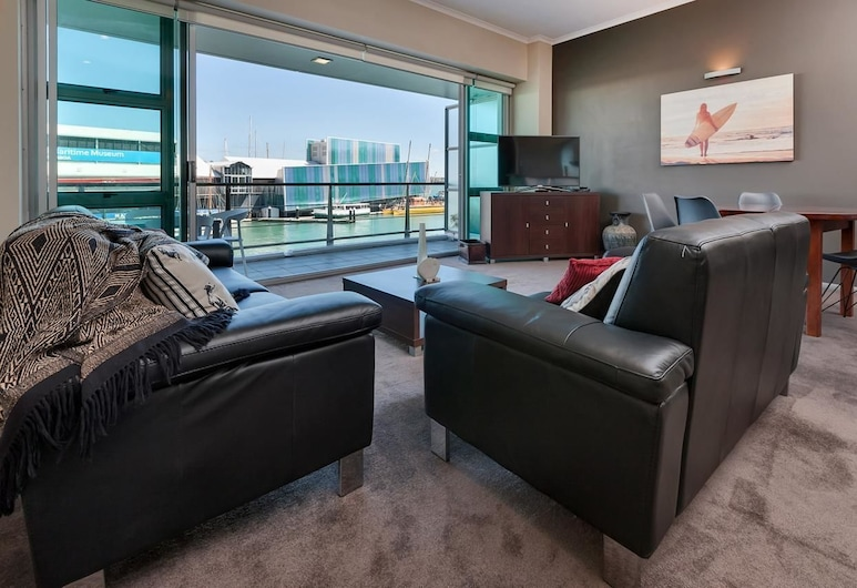 QV Water View Apartment - 707, Auckland, Lejlighed (Private Serviced Aparment), Opholdsområde