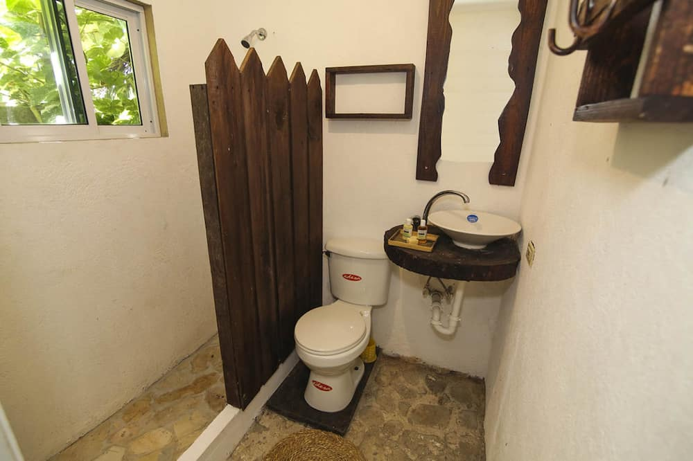 חדר בייסיק יחיד, מיטת קווין, נוף לגן - חדר רחצה