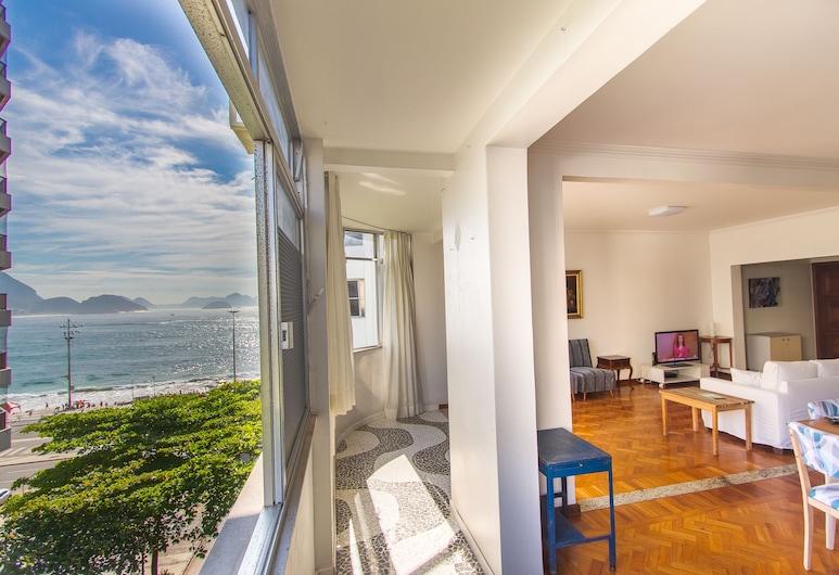 LineRio Vista Mar Copacabana 228, Rio de Janeiro, Családi apartman, több ágy, kilátással a tengerre, Nappali