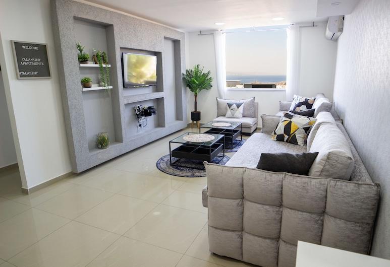 Sea View Spacious 3 Bedroom Apartment, Eilat, Departamento, vista a la playa, Sala de estar