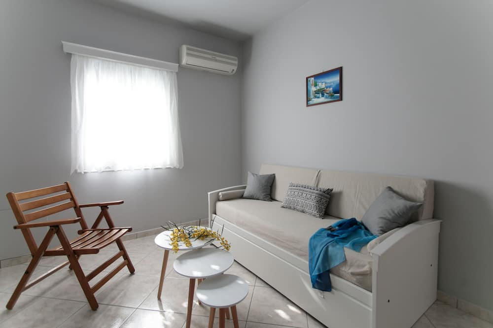 Apartmán s panoramatickým výhľadom, viacero postelí, výhľad na pláž - Obývacie priestory