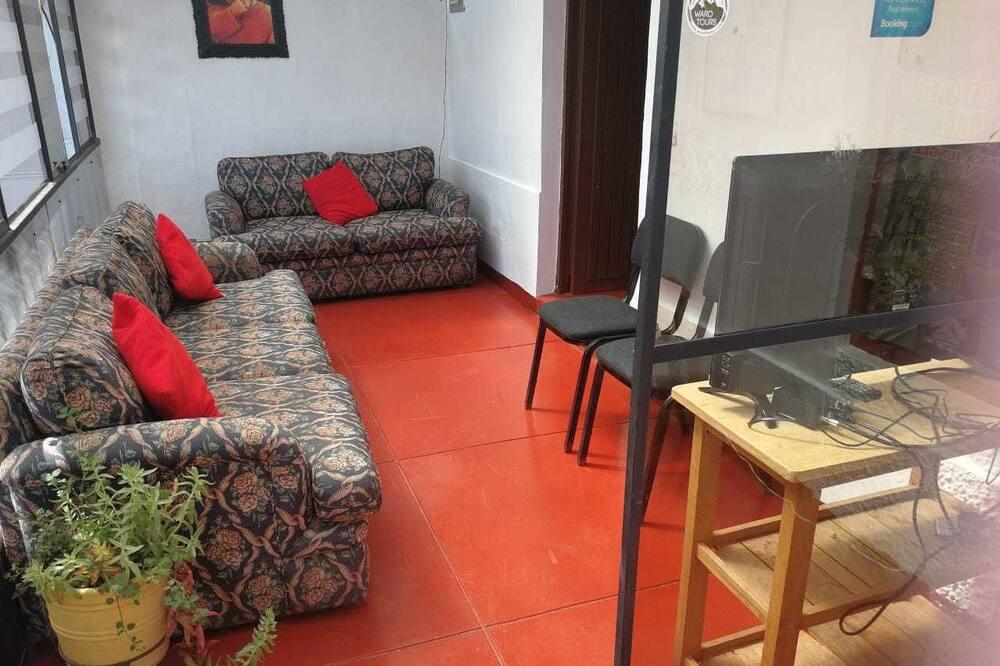 ダブルルーム ダブルベッド 1 台 共用バスルーム - リビング エリア