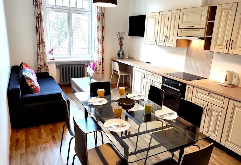 Brīvības ielas centra dzīvokļi, Rīga, Dzīvokļnumurs ar papildu ērtībām, vairākas gultas, skats uz pilsētu, Dzīvojamā zona