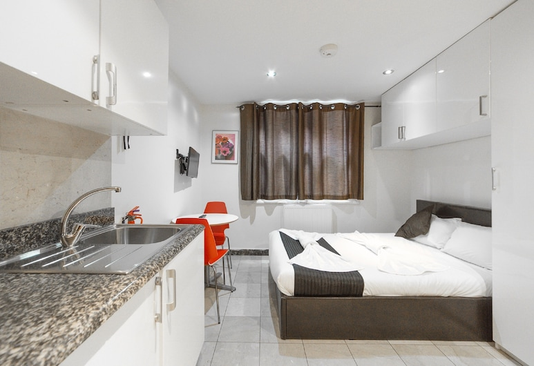 新肯特公寓酒店, 倫敦, 標準開放式客房, 1 張標準雙人床, 客房