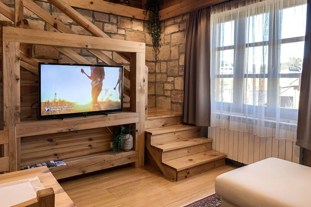 غرفة دوبلكس عائلية - لغير المدخنين - منظر للجبل - غرفة معيشة
