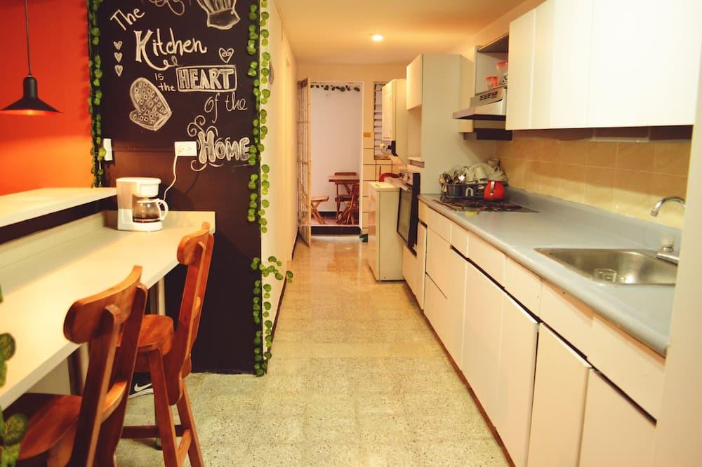 Habitación doble, 1 cama doble, vista al jardín (Verde claro) - Cocina compartida