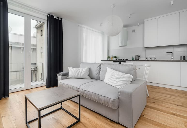 Metro Centrum Light Apartment, Varšava, Apartmán typu Comfort, výhľad na mesto, Obývačka