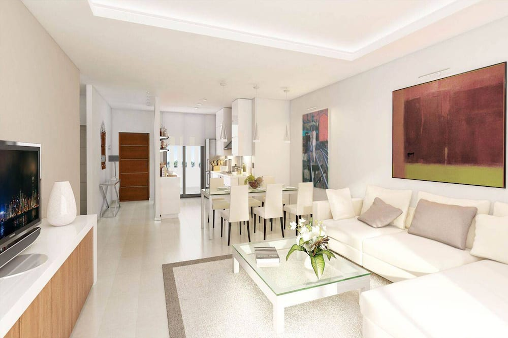 apartman, 3 hálószobával, kilátással a medencére - Nappali rész