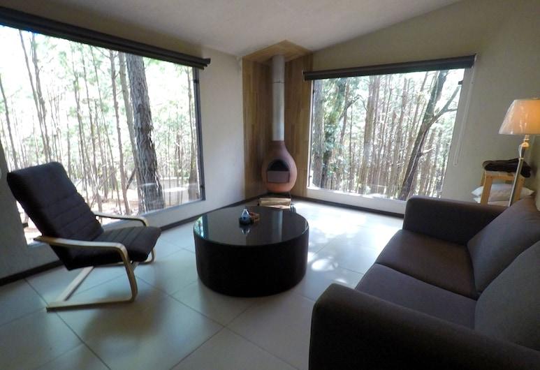 Rincón de María Mazamitla, Mazamitla, Deluxe Room, 1 King Bed with Sofa bed, Mountain View, Living Area